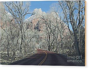 Road Through Zion Canyon Wood Print by Bob and Nancy Kendrick