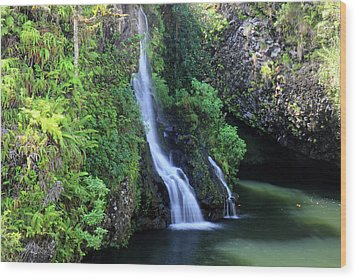 Road To Hana Waterfall Wood Print by Pierre Leclerc Photography