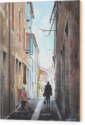Road To Market In Gascony Wood Print