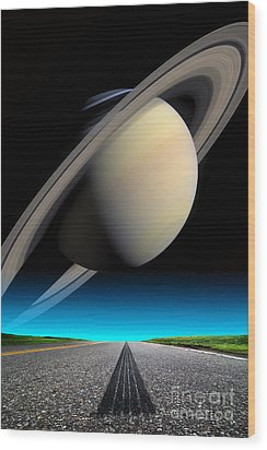 Road To Saturn Wood Print by Larry Landolfi and Photo Researchers