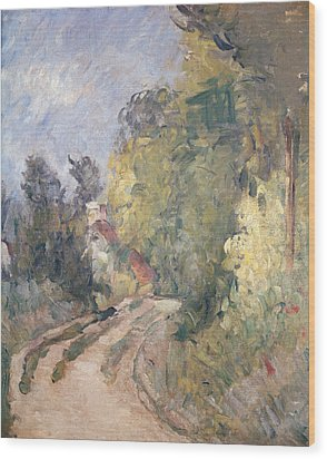 Road Turning Under Trees Wood Print by Paul Cezanne