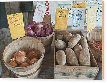 Roadside Produce Stand Onions Potatoes Shallots Wood Print by Denise Lett