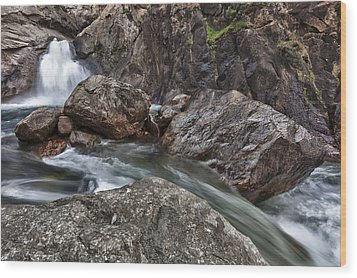 Roaring River Falls Wood Print by A A