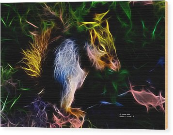 Wood Print featuring the digital art Robbie The Squirrel - 7839 - Fractal by James Ahn