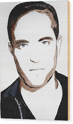 Wood Print featuring the painting Robert Pattinson 10 by Audrey Pollitt
