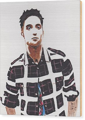 Wood Print featuring the painting Robert Pattinson 11a by Audrey Pollitt