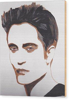 Wood Print featuring the painting Robert Pattinson 12 by Audrey Pollitt