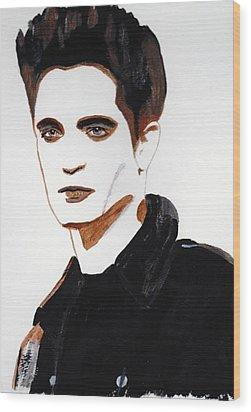 Wood Print featuring the painting Robert Pattinson 15 by Audrey Pollitt