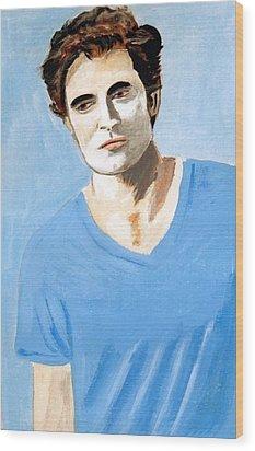 Wood Print featuring the painting Robert Pattinson 6 by Audrey Pollitt