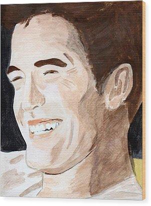 Wood Print featuring the painting Robert Pattinson 8 by Audrey Pollitt