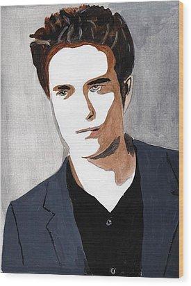 Wood Print featuring the painting Robert Pattinson 9 by Audrey Pollitt