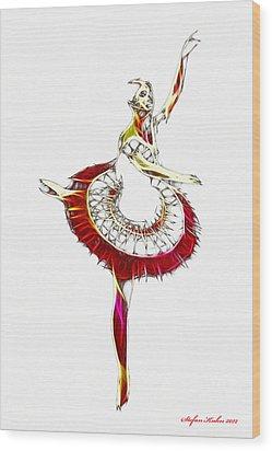 Robot Ballerina Wood Print by Steve K