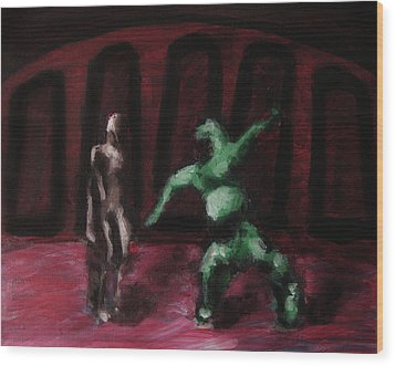Wood Print featuring the painting Robot Chewbacca Fight Colosseum In Red Green And Pink by M Zimmerman