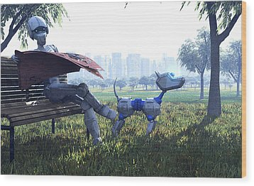 Robot Reading A Newspaper, Artwork Wood Print by Carl Goodman
