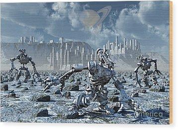 Robots Gathering Rich Mineral Deposits Wood Print by Mark Stevenson