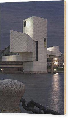 Rock And Roll Hall Of Fame At Dusk Wood Print by At Lands End Photography