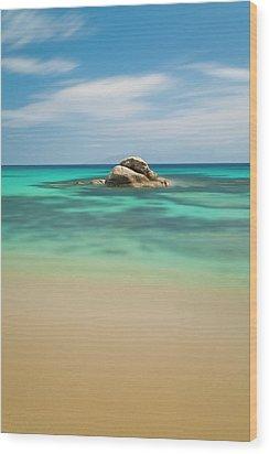 Rock At Paranga Beach Wood Print by Vasilis Tsikkinis photos