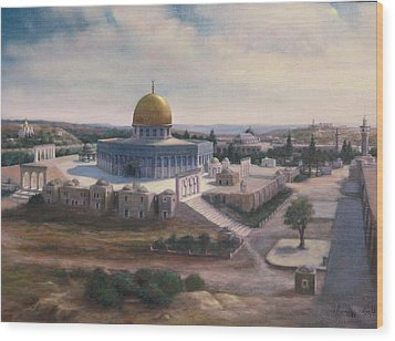Wood Print featuring the painting Rock Dome - Jerusalem by Laila Awad Jamaleldin
