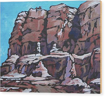 Rock Face Wood Print by Sandy Tracey