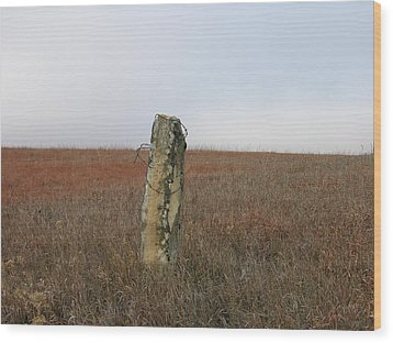Rock Fence Post Wood Print by Keith Stokes