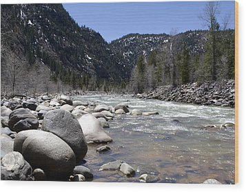 Wood Print featuring the photograph Rock In The River by Lorraine Devon Wilke