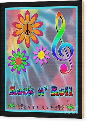 Rock Music Poster Wood Print by Linda Seacord