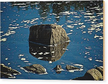 Rock Reflection In Blue Water Wood Print by Andre Faubert
