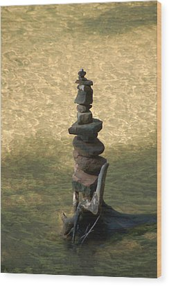 Rock Tower Lake Superior Wood Print by Peg Toliver