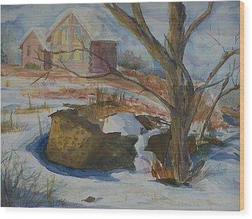 Rock Wall In Winter Wood Print by Barbara McGeachen