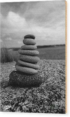 Rock Zen Wood Print by Kami McKeon