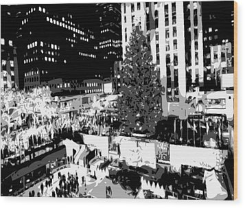 Rockefeller Tree Bw8 Wood Print by Scott Kelley