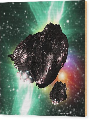 Rocket-controlled Asteroids Wood Print by Victor Habbick Visions