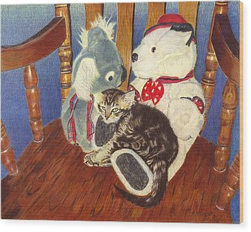 Rocking With Friends - Kitten And Stuffed Animals Painting Wood Print by Patricia Barmatz