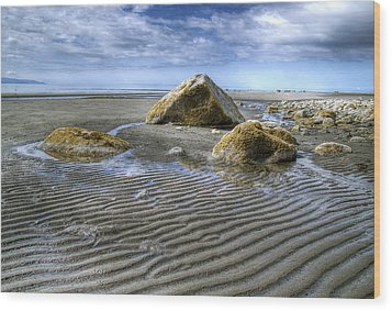 Rocks And Sand Wood Print by Michele Cornelius