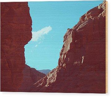 Rocks And Sky Wood Print by Naxart Studio