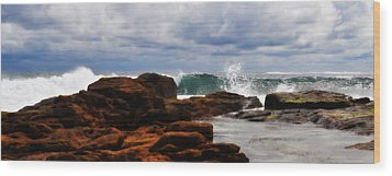 Rocks And Surf Wood Print by Phill Petrovic