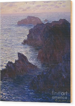 Rocks At Bell Ile Port Domois Wood Print by Claude Monet