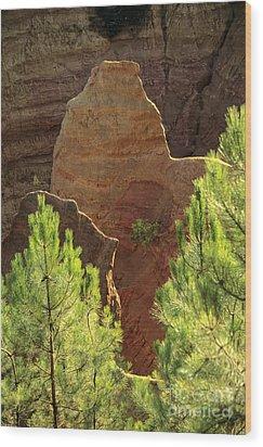Rocks. Ochre.  Roussillon. Luberon. France. Europe Wood Print by Bernard Jaubert
