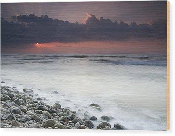 Rocky Beach At Sunrise Hawf Protected Wood Print by Sebastian Kennerknecht