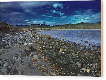 Rocky Beach In Western Canada Wood Print by Louise Heusinkveld
