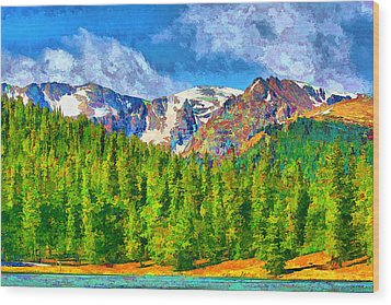 Wood Print featuring the digital art Rocky Mountain High by Brian Davis