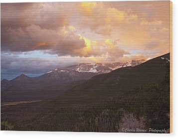Rocky Mountain Sunset Wood Print by Charles Warren
