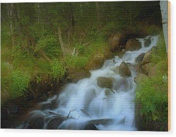 Rocky Mountain Waterfall Wood Print by Ellen Heaverlo