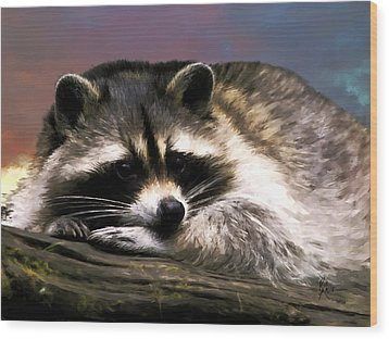 Wood Print featuring the painting Rocky Raccoon by Robert Smith