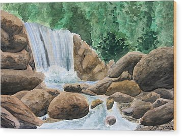 Rocky Waterfalls Wood Print by Anthony Nold