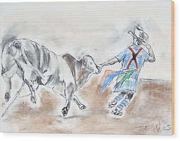 Wood Print featuring the drawing Rodeo Bullfighter by Jim  Arnold