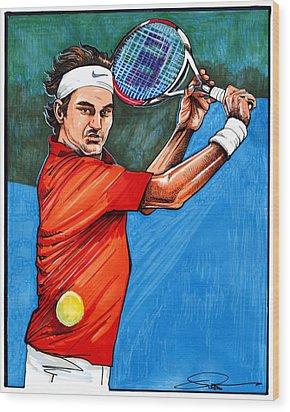 Roger Federer Wood Print by Dave Olsen