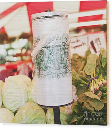 Roll Of Plastic Produce Bags In A Market Wood Print by Jetta Productions, Inc