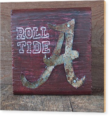 Roll Tide - Small Wood Print by Racquel Morgan