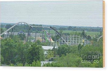 Roller Coaster Skyline Wood Print by Kelly Schwartz